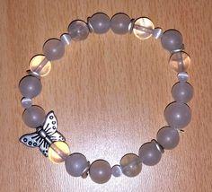 #Schmuck, #Armband, #Perlen, #Edelsteine, #weiß, #Jade weiß, #Bergkristall, #opalisiertes Glas, #Schmetterling, #silber jewellery, joyas, bijoux, ювелирные изделия, biżuteria, gioielli, juwelen, koruja, smykker, 珠寶,bracelet, pulsera, браслет, bransoletka, bracciale, rannekoru, armbånd, 手鐲,pearls, perlas, perles, жемчуг, perły, perle, parels, helmet, perler, 珍珠,