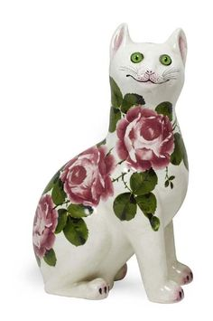 WEMYSS WARE LARGE 'CABBAGE ROSES' CAT FIGURE, POST 1930