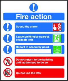 Symbolised fire action notice night glow.  Beaverswood - Identification Solutions