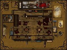 Hard Knocks Saloon and Brothel Floor by Sadizzm on DeviantArt Western Saloon, Western Art, Fantasy Map, Medieval Fantasy, West Map, Pathfinder Maps, Old West Town, Building Map, Old Bar