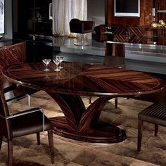The Giorgio Luna Oval Dining Table is designed by and is available from . Square Dining Room Table, Dinning Tables And Chairs, Luxury Dining Tables, Oval Table, Deco Furniture, Table Furniture, Furniture Design, Lifetime Tables, Banquette Seating