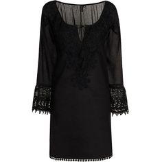 Cara Cotton Daisy Crochet Trim Kaftan- Black
