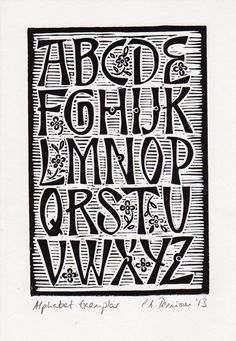 Alphabet Exemplar Lino Cut by pressfordesign on Etsy, £8.00