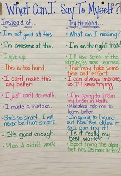 """File this under Growth MIndset tools! This is a wonderful anchor chart. Perhaps one of the few times I might include the """"what not to do"""" when coaching, teaching or modeling! Self-coaching is a great tool to prepare the mind for the journey ahead. Book Study, Study Notes, School Counseling, Elementary School Counselor, Group Counseling, Social Skills, Social Work, Anchor Charts, In Kindergarten"""