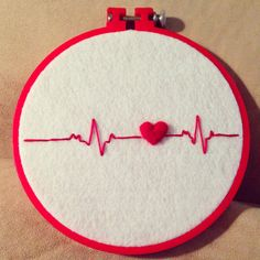 Heartbeat Felted Embroidery Wall Art By - Diy Crafts Brazilian Embroidery Stitches, Hand Embroidery Videos, Hand Embroidery Flowers, Flower Embroidery Designs, Creative Embroidery, Simple Embroidery, Learn Embroidery, Hand Embroidery Stitches, Modern Embroidery