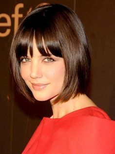 Bob hairstyle with bangs - Katie Holmes | allure.com