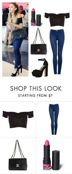"""""""Ariana Grande"""" by iamniharika ❤ liked on Polyvore featuring River Island, Forever New, Chanel and Monki"""