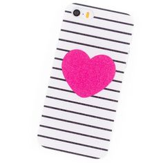 iPhone 5S SE i6 i6Plus 6S Plus 4S 5 6 7 Cover Phone Cases Housing Red hearts Stripe Coque Brand Glass Screen Protector
