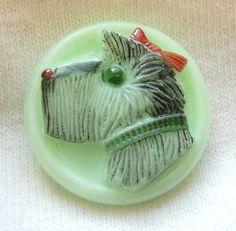 Czech Mint Glass Button Scottie Dog Scotty w/ by ButtonOdyssey, $4.99