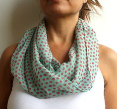 Mint Coral Polka Dot Infinity Scarf Spring Fashion by warmandsoft, $14.90