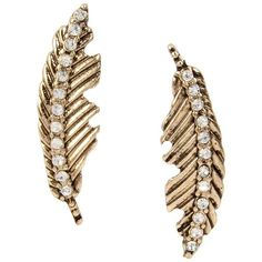 Betsey Johnson Angels And Wings Feather Stud Earring ($25) ❤ liked on Polyvore featuring jewelry, earrings, crystal, feather charm, gold colored earrings, post back earring, charm jewelry and antique gold charms