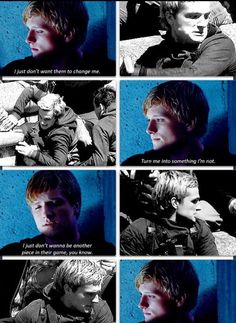 What happened to Peeta is so tragic. The fact that he is able to find himself again shows how amazing of a character he is. Hunger Games Fandom, Hunger Games Humor, Hunger Games Catching Fire, Hunger Games Trilogy, Suzanne Collins, Katniss And Peeta, Katniss Everdeen, I Volunteer As Tribute, Mockingjay Part 2