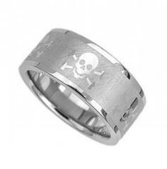 Triton Mens Stainless Steel Ring Skull And Crossbones Wedding