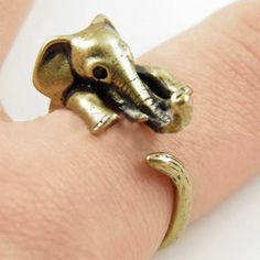 Elephant Lovers Antiqued Silver or Bronze Overlay Wrap Rings