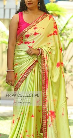PV 3652 : Green Tie and Dye <br> Price : 4200 Rs Bring down the heat in this easy on eye drape in light green and pink tie and dye satin saree. Satin Saree, Chiffon Saree, Saree Dress, Stone Work Blouse, Shibori Sarees, Ethenic Wear, Sari Blouse Designs, Simple Sarees, Blue Saree