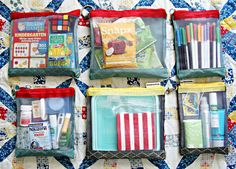Organizing your road trip!  She uses a 42 dollar (!!!) set of bags, but you could just as easily use gallon zip locks.  It has great ideas on what to pack.