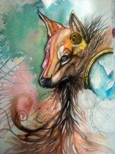 Steampunk Dire Wolf, aquarela de Ester Conceição.