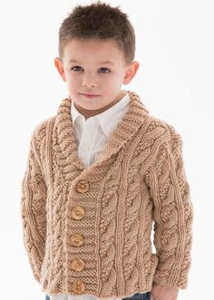 Cardigans for Children Knitting Patterns- Free knitting pattern for Little Man Cardigan - Alice Tang designed this stylish shawl-collared cable cardigan for Red Heart. Options for buttonholes on either side. Kids Knitting Patterns, Baby Sweater Knitting Pattern, Knit Baby Sweaters, Knitting For Kids, Free Knitting, Knitting Needles, Baby Boy Cardigan, Man Cardigan, Cable Knit Cardigan