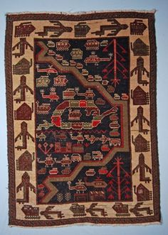 via gibson Woven Afghan war rug with a dark brown background, wide beige border and very short beige tassels. The iconography, mainly in olive green, b. Mountain Pass, War Image, Kilims, Central Asia, British Museum, Anthropology, Afghanistan, Textile Design, Rugs On Carpet