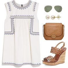 Out to Dinner by thevirginiaprep on Polyvore featuring MANGO, Tory Burch, Lord & Taylor and Ray-Ban