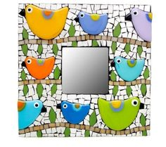 EACH MIRROR IS HAND MADE ONE OF A KIND - THIS MEANS BIRDS PICTURED WILL BE DIFFERENT THAN THE MIRROR YOU GET. EACH MIRROR IS SPECIAL AND BIRDS WILL BE DIFFERENT ON EACH MIRROR. 10x10 Cute little bird mirror. Mirror background, hand cut stained glass and fused glass Birds