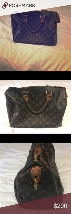 Authentic Louis Vuitton speedy 35 Authentic Louis Vuitton speedy 35.  This is a vintage item, well worn, gifted to me used.  Still in good shape with lock (no key, but can be purchased). Just has signs of heavy wear, no tear. Louis Vuitton Bags Satchels