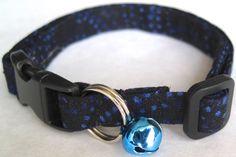 Blue Dotted Swirls Cat Collar - Customizable