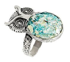 Or Paz Sterling Roman Glass Owl Ring