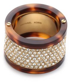 MICHAEL KORS  Gold Pave Tortoise Barrel Ring