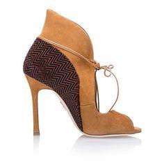 Chelsea Paris Zerin Heels ($675) ❤ liked on Polyvore featuring shoes, boots, chelsea paris shoes, lace up stilettos, stiletto heel pumps, tan pumps and lace up pumps