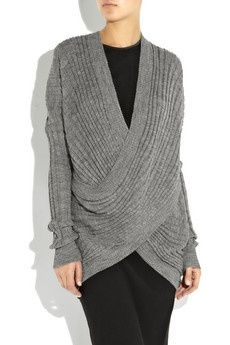 tee+shirts+with+sheer+long+sleeves+like+on+grace+&+frankie   Alpaca and wool-blend wrap sweater