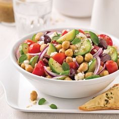 Greek salad with chickpeas - 5 ingredients 15 minutes - Greek salad with chickpeas – Weekly dinners – Recipes – Express recipes – Pratico - Clean Recipes, Cooking Recipes, Healthy Recipes, Cooking Chef, Protein Salad, Salad Dressing Recipes, Greek Salad, How To Cook Quinoa, Meals For The Week