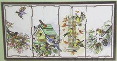 Counted Cross Stitch Birdhouse Bird Feeder Four Seasons Birds by Janlynn 18 x 10 #Janlynn #CountedCrossStitch