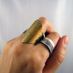 Warriors Shield  Hammered Brass Ring by evemmetalsmith on Etsy, $55.00