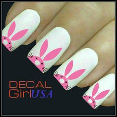 Easter Nail Art Decals, Pink Easter Bunny Nail Designs #2014 #easter #bunny #nails www.loveitsomuch.com