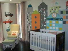 Large cityscape I painted following the theme of the Skyline bedding from Dwell. I wanted to bring a lot of color and pop into the nursery and make it interactive for Adrian as well. Fun learning opportunities with colors, shapes and counting games. This mural was a finalist at Project Nursery for August Room of the Month in 2011. Please contact me if you would like something like this painted for your child.