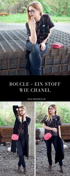 Der Stoff aus dem Chanel Träume sind   Bouclé Bluse und Skinny Jeans   Outfit