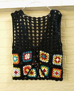 Granny Square Crochet Vest Tie Front by TinaCrochet2016 on Etsy