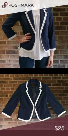 """The Limited - Navy blazer with white trim -NWOT XS Navy blazer with white trim from The Limited. New without tags. Adorable polka dot lining. Size xs. Length - 22"""", sleeve - 20"""", bust - 31"""" when buttoned. Care: dry clean. Shell is 95% cotton, 5% spandex. Lining is 100% polyester. The Limited Jackets & Coats Blazers"""