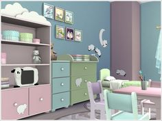 A set of furniture and decor for the nursery Baby sheep  Found in TSR Category 'Sims 4 Kids Bedroom Sets'