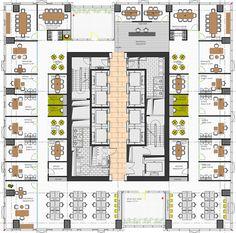 Kapalı ofis, 30 kişilik açık ofis + 13 Müdür odası + 10 toplantı odası Office Building Architecture, Hotel Architecture, Architecture Design, Building Layout, Building Plans, Building Design, Office Layout Plan, Office Floor Plan, Tower Design
