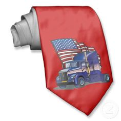 United States USA Flag Semi Truck Mens Neck Tie Truck Driver Wife 5c0033df6cca