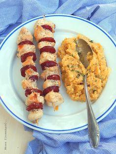 Kolbászos csirkenyársak fűszeres sütőtök, zellerpürével...