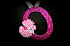 Hanging Wall Letter O  Pink Sparkled Zebra Rhinestone Bow   - One Of A Kind Custom Design