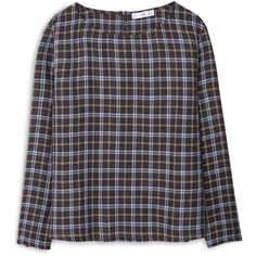 MANGO Check Blouse ($40) ❤ liked on Polyvore featuring tops, blouses, mango tops, checkered top, print blouse, round top and long sleeve tops
