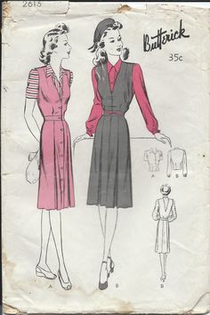 Vintage 1940s Butterick Sewing Pattern 2615 Women's and Misses' Jumper Frock and Blouse / Size 12 Bust 30 di RanchQueenVintage su Etsy https://www.etsy.com/it/listing/223651629/vintage-1940s-butterick-sewing-pattern