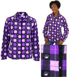 Purple Paw Plaid Fleece Jacket - SMALL - Helps the ASPCA #AnimalRescue #FleeceJacket