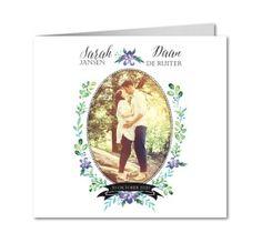 huwelijk uitnodigingen aquarel medaillon