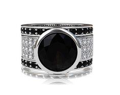 Three ring engagement ring set,  black spinel solitaire ring, diamond engagement ring, wide ring, black diamond wedding, wedding set, bezel