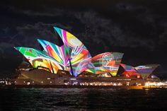 Vivid Sydney transforms the harbor city with light, music ~ Sydney Opera House during Vivid Festival, Harbor City, Outdoor Venues, Cultural Events, In 2015, Festival Lights, Travel News, World War Ii, Digital Image, Sailing